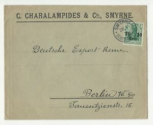 Turkey / Cover of Greek C.Charalampides Smyrne, Deutsche post