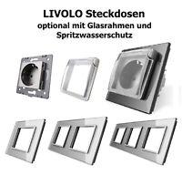 LIVOLO Steckdosen Glasrahmen Spritzwasserschutz Glasblende Abdeckung Grau