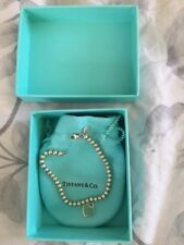 Original Tiffany silver bead bracelet with turquoise heart