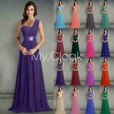 One Shoulder Bridesmaid Dresses Long Party Ball Wedding Gown Prom Stock 6-26