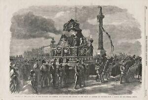 OLD ANTIQUE 1865 PRINT BELGIAN KINGS FUNERAL CAR PLACE DE CONGRES BRUSSELS b173