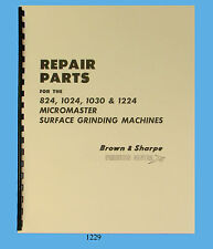 Brown & Sharpe Micromaster 824, 1024, 1030, &1224 Surface Grinders Parts Manual