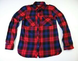 Charlotte Russe Women's Small Long Sleeve Button Up Flannel Top -Red/Blue Plaid