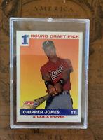 91 Score Chipper Jones Rookie Card #671  1 Draft Pick W/glass Case Hall Of Famer