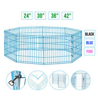 24'' 30'' 36'' 42' Metal Dog Playpen Exercise Fence Pets Kennel Cage Portable
