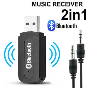 Wireless Bluetooth 3.5mm Audio USB Receiver Adapter Music Dongle AUX Fr Home Car