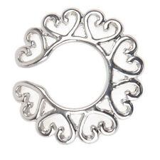 Plata quirúrgica de acero no piercing clip en el corazón de diseño pezón anillo