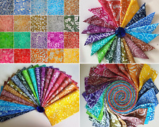 Batik 100% Cotton Quilter Jelly Roll Charms & Layer Cakes Rainbow Two Tones