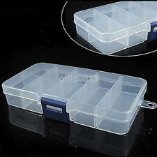 Clear Plastic Storage Box Case Nail Art False Tips Gems 10cells Empty Container^
