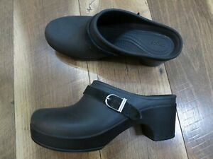 Crocs Dual Comfort 203631 Sarah Women's Black Slip On Heel Mule Clogs Sz 7