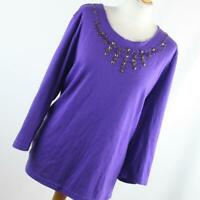 BM Womens Size XL Purple Plain Basic Tee