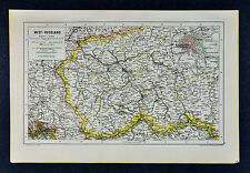 c 1885 Hartleben Map - Poland  Warsaw Lodz Lublin Brest Bialystok Poznan Breslau