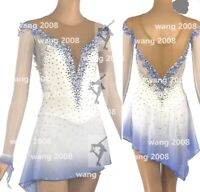 ice figure skating competition dress Gymnastics costum dance Dress white dyeing