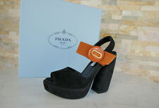 PRADA Plateau Gr 38,5 Sandaletten Heels 1XP938 Schuhe bicolor neu ehem UVP 690€