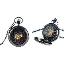 Black Steampunk Cogs Mechanical Hand Wind Skeleton Pocket/Fob Watch Victorian/We