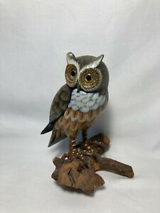 Spotted Owl Hand Carved & Painted On Drift Wood Statue Carving Figurine
