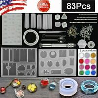 83pcs DIY Resin Casting Silicone Crystal Molds Kit Jewelry Making Pendant Craft
