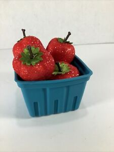 Vintage 5 Sugar Frosted Artificial Faux Fruit Red Strawberries in container