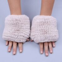 2019 Rex Rabbit Fur Knitted Women's Fingerless Wrist Type Gloves Mittens Elastic