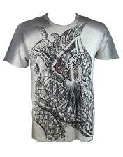 KONQUEST PLATINUM Men's Dragon Claw Print T-Shirt Light Grey (KQTS055)