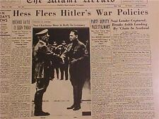 VINTAGE NEWSPAPER HEADLINE~WORLD WAR NAZI HESS CAPTURED FLEES ADOLF HITLER WWII~