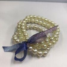 Glass Pearl Ivory Colored Beaded Stretch Bracelet