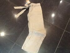 NWT Juicy Couture New & Gen. Ladies Small Beige Wide Leg Linen Trousers UK 8/10