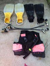 LOT Scuba Snorkel Diving Gear 2 Pair Fins Vest U S Divers
