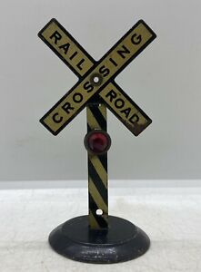 Vintage Pressed Steel Model Train Toy Tin Litho Jeweled Railroad Crossing Sign