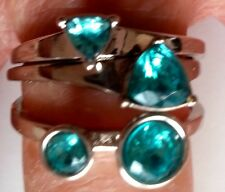 Blue Topaz Silver Famous Forever 3 ring set Faux tone Size 10 FREE SHIPPING