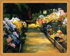 Blumengarten mit Figur Chiemseemaler Blütenpracht LW Moderne Julius Exter A2 16