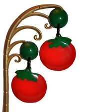 Clip On Carved Tomato Earrings French Designer Spectacular Resin Dangling