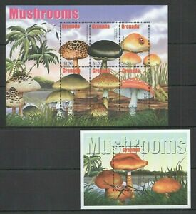 AC0113 GRENADA FLORA NATURE MUSHROOMS BL+KB MNH