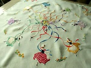 VINTAGE HAND EMBROIDERED LINEN TABLECLOTH/ CRINOLINE LADIES MAYPOLE DANCING