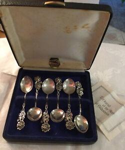 Beautiful Vintage Boxed Set Hildesheim Rose Coffee Spoons. German Silver 835. 🌹