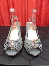 """EVANS ESSENCE wide fit UK 7 / 40 Grey peep toe slingback sandals 3"""" heel exc"""