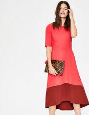 BODEN Wren Ponte Midi Dress J0229 UK 16 R EU 42 US 12  Pop Peony / Conker