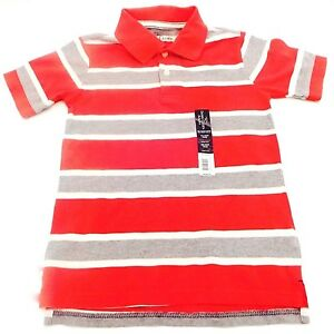FADED GLORY AGES 4-5 RED, 100% COTTON STRIPED SHORT SLEEVE SHIRT SIZE XS NEW!