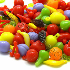 100 Mixed Plastic Acrylic Fruit Charm Beads with Leaves Grapes Apples Pears +
