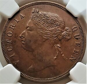 1 Cent 1883 VICTORIA QUEEN Straits Settlements Malaysia AU 55 BN NGC Rare!!
