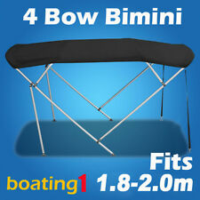 4 Bow 1.8m-2.0m Black Boat Bimini Top Canopy Cover With Rear Poles & Sock