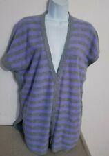 Pure Amici Gray/Purple CASHMERE Poncho Cardigan Sweater Sz Large, Roomy +