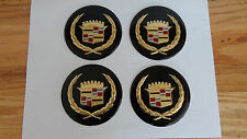 Cadillac Wire Wheel Cover Center Cap Medallions, 4pc Set BLACK &GOLD OR SILVER