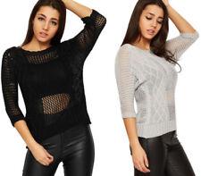 Maglie e camicie da donna lunghezza ai fianchi in pizzo con girocollo