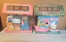 Wood BAIT SHOP & Fishing BOAT RENTAL - Cabin Lodge Decor - Fishing Birdhouse
