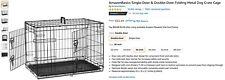 "AmazonBasics Folding Cage Crate Large Pet Single-door Metal Portable 30x19x21"""