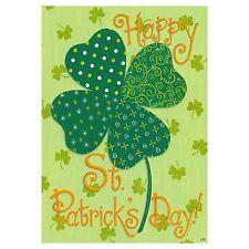 "Fm Happy St. Patrick'S Day Shamrock By Custom Decor 12""x18"" Garden Flag Banner"