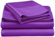 Queen Size Purple Solid Sheet Set 4 Piece 800 Thread Count Egyptian Cotton