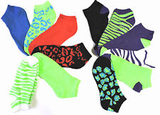 12 Pairs Women's Ladies Printed  No Show Bright Colors Ankle Socks Size 9-11