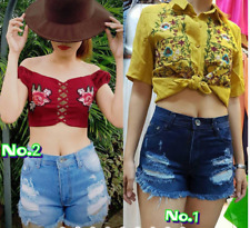 GREEN DENIM BANGKOK HIGH WAIST TATTERED SHORT MEDIUM